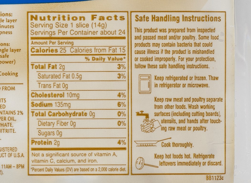 Oscar Mayer Bacon Nutrition Label on oscar mayer selects nutrition