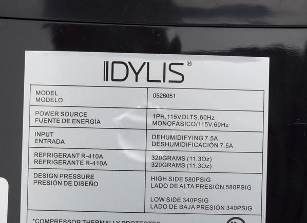 Idylis WDH-1670EAP-1 (Lowe's) Dehumidifier