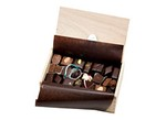 L.A. Burdick-Large Wood Box Assortment 64 pieces-Chocolate-image