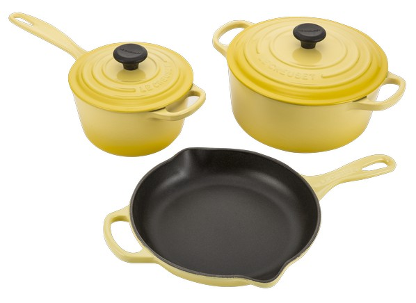 le creuset signature cast iron 5 pc kitchen cookware. Black Bedroom Furniture Sets. Home Design Ideas